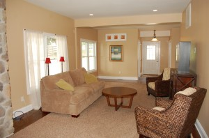 Staged family room in vacant home